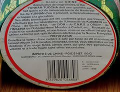 Verbraucherschutz Haltbarkeitsdatum und Pu Erh, siehe unten rechts ...
