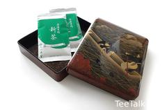 Shincha & Maki-e Lackbox mit Kormoranfischerei-Motiv