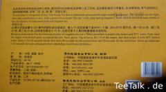 Tenfu Tieguanyin - Aufschrift und Zubereitungsanleitung