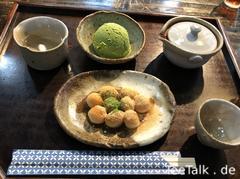 Hinpyokai Sencha und Süssigkeiten